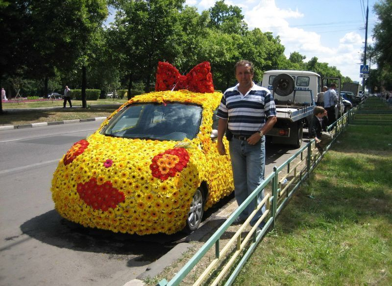 Car Covered In Flowers